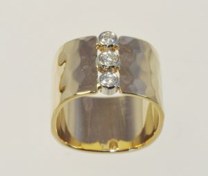 Ross Haynes Designs style: Custom wide ring 3 diamonds